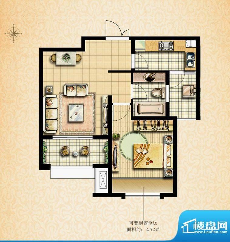 国基城邦38#格调居户型图 1室1面积:58.81平米