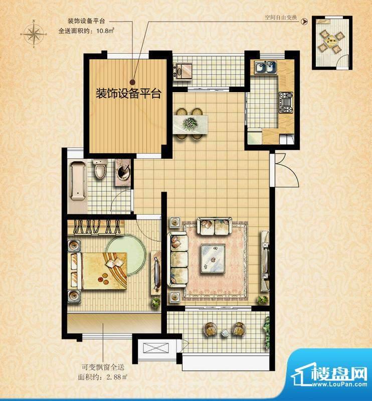 国基城邦38#雅致居户型图 1室2面积:72.76平米