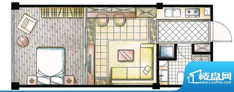 合金公寓户型图I-A1户型 1室1厅面积:48.00平米