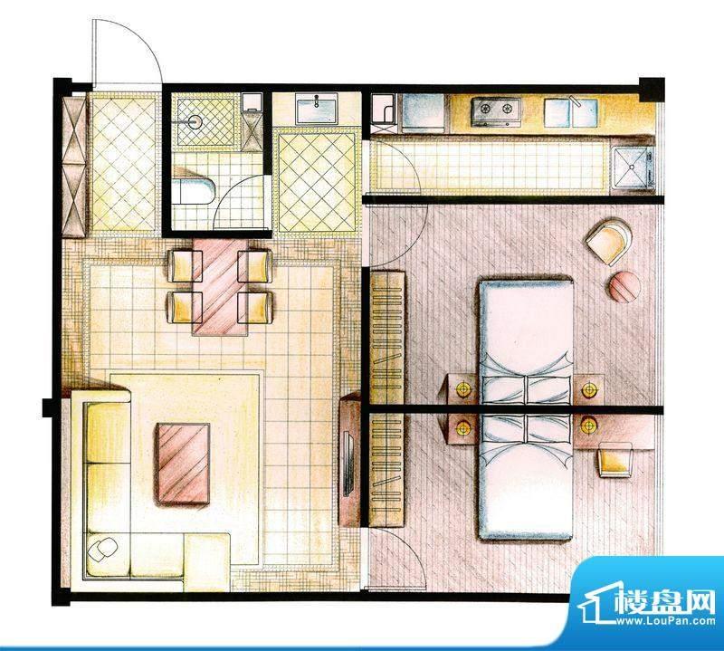 合金公寓户型图F-1-B2户型 2室面积:77.00平米