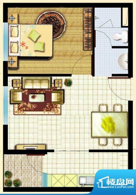 滇池柏悦户型图户型图 1室2厅1