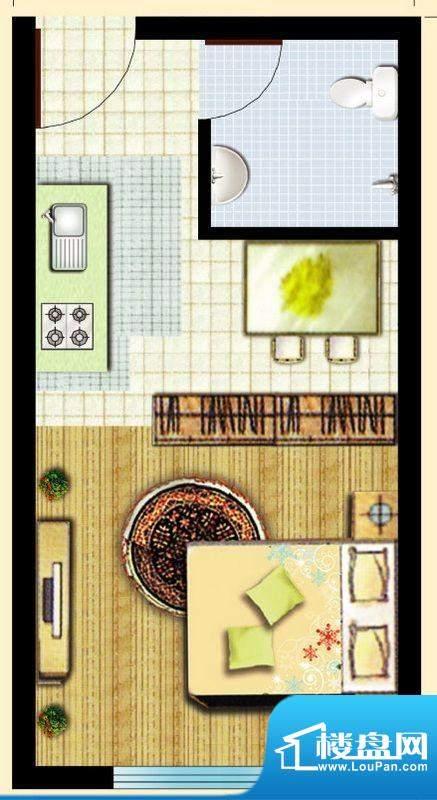 滇池柏悦户型图户型图 1室1厅1