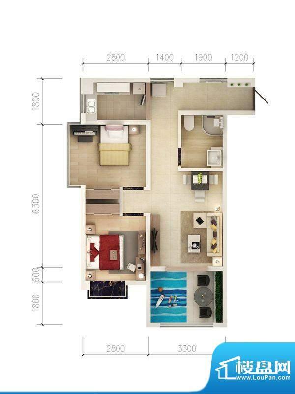 西府景苑户型图E2户型 2室2厅1面积:67.31平米