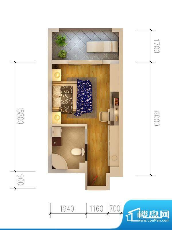 西府景苑户型图E3户型 2室2厅1面积:67.31平米