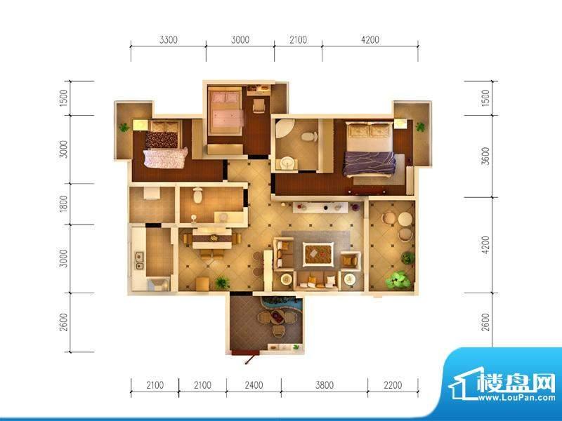 西府景苑户型图F1户型 3室2厅2面积:119.28平米