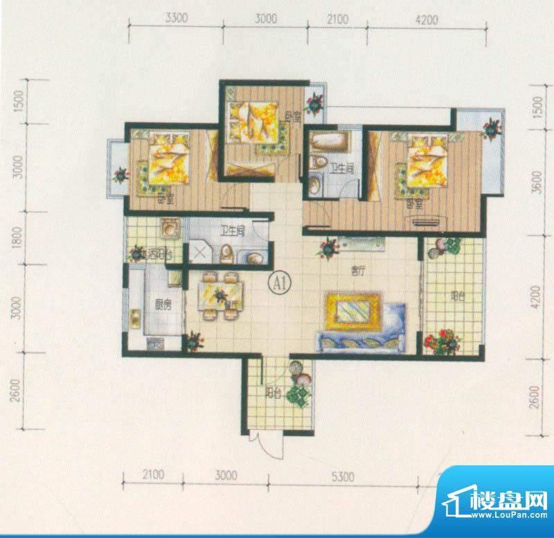 西府景苑户型图A1户型 3室2厅2面积:116.74平米