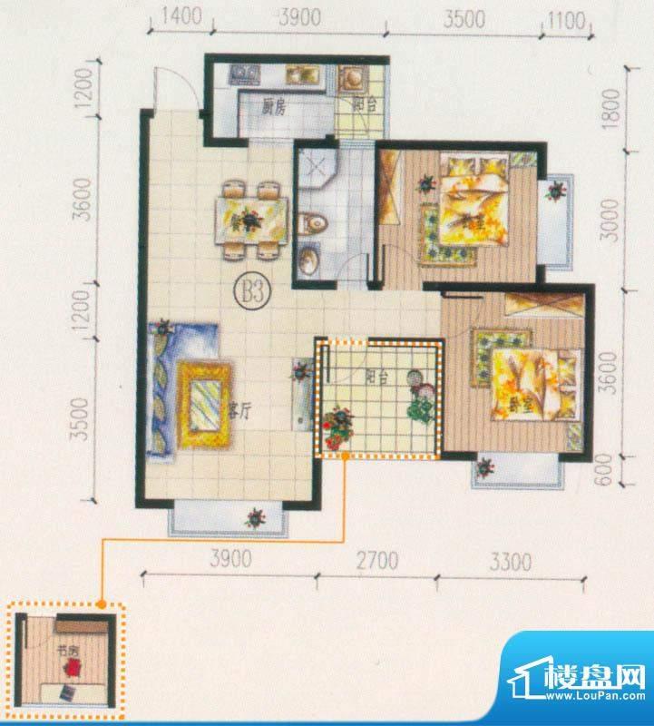 西府景苑户型图B3户型 3室2厅1面积:84.37平米