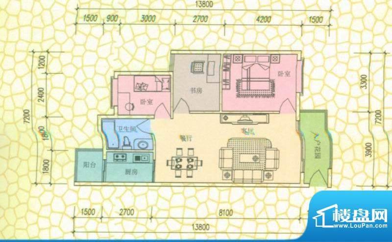西尚林居户型图F1户型 3室2厅1面积:89.00平米