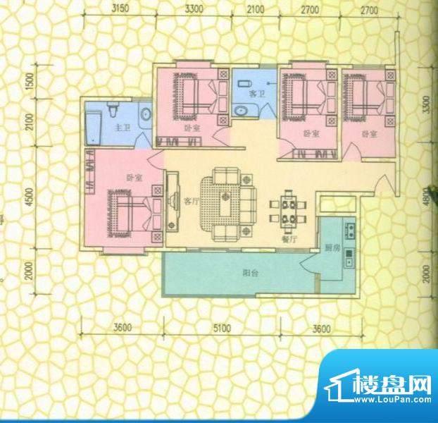 西尚林居户型图四房两厅双卫 4面积:131.00平米