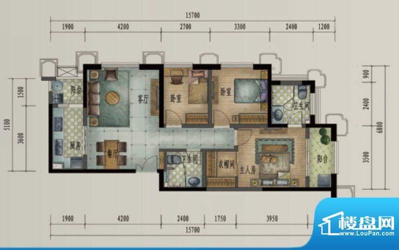 滨江俊园户型图HH户型 3室2厅2面积:115.00平米