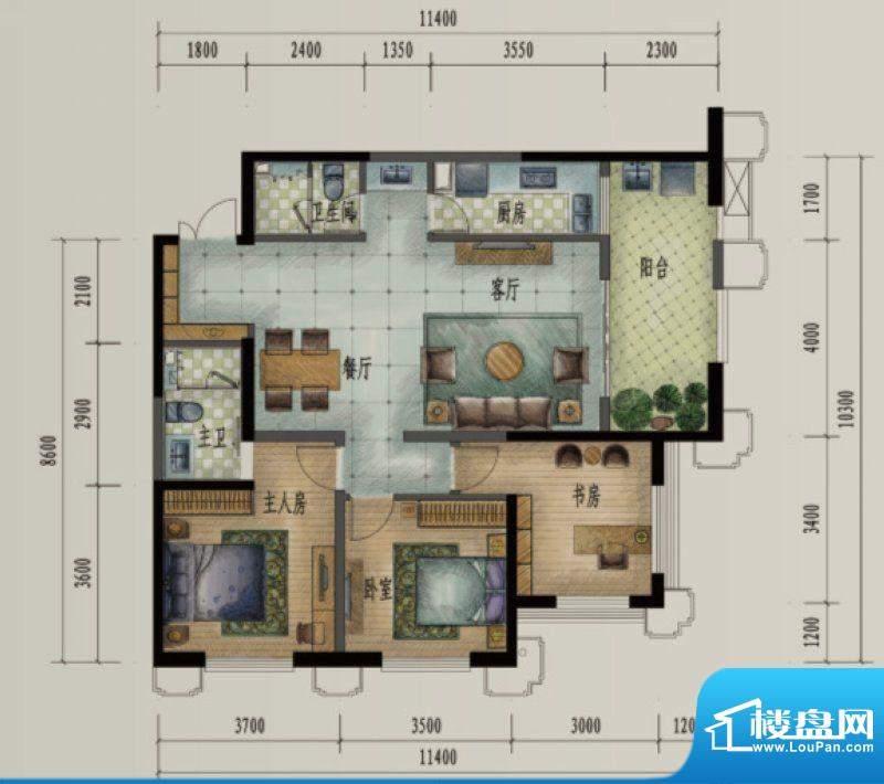 滨江俊园户型图JJ户型 3室2厅2面积:128.00平米