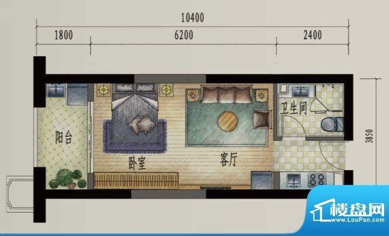滨江俊园户型图R户型 1室1厅1卫面积:47.00平米