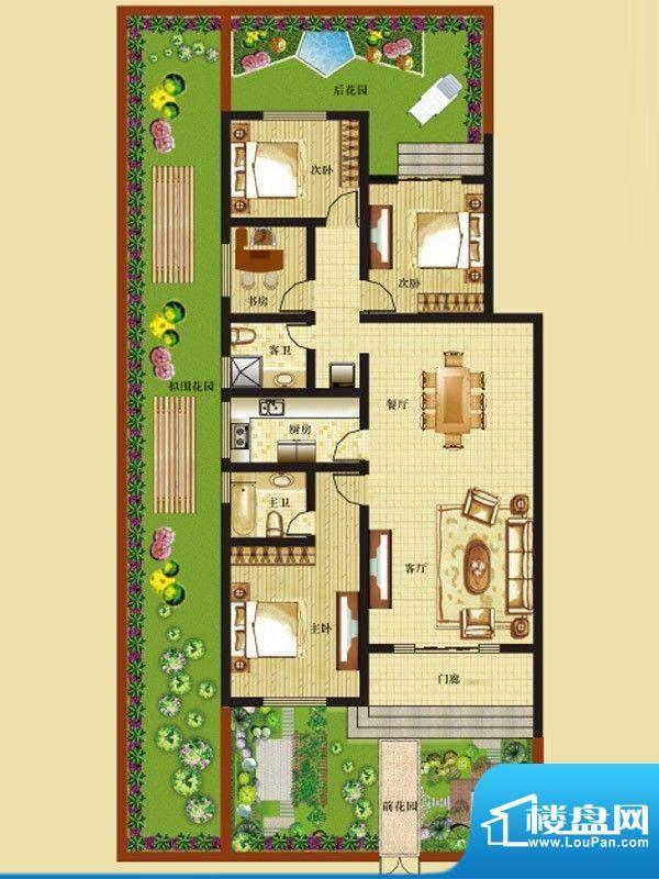 一米阳光快乐家园户型图E户型一面积:135.00平米