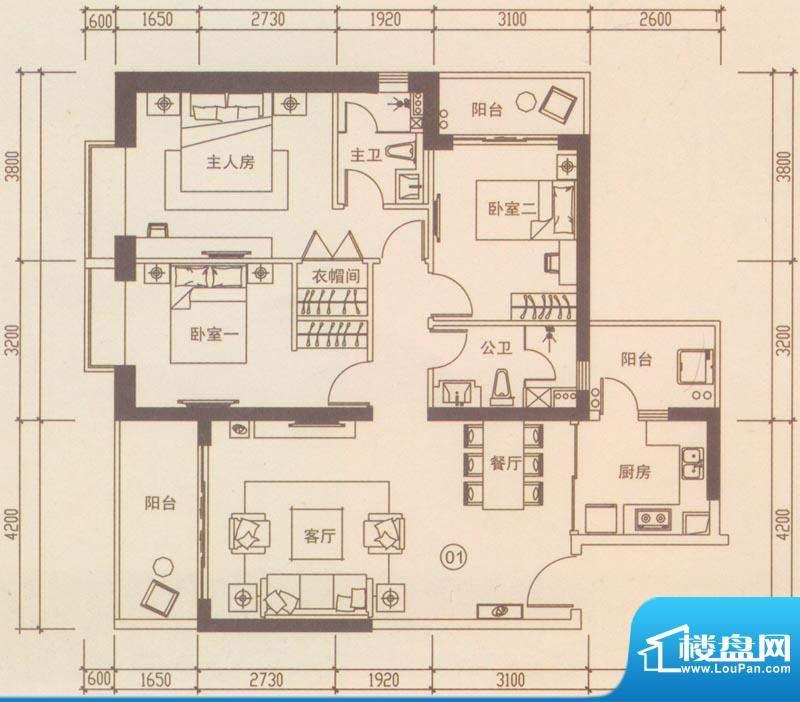 海伦国际户型图A301户型 3室2厅面积:122.09平米