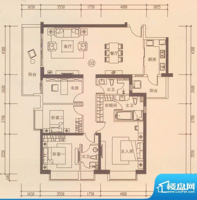 海伦国际户型图A302户型 4室2厅面积:156.49平米