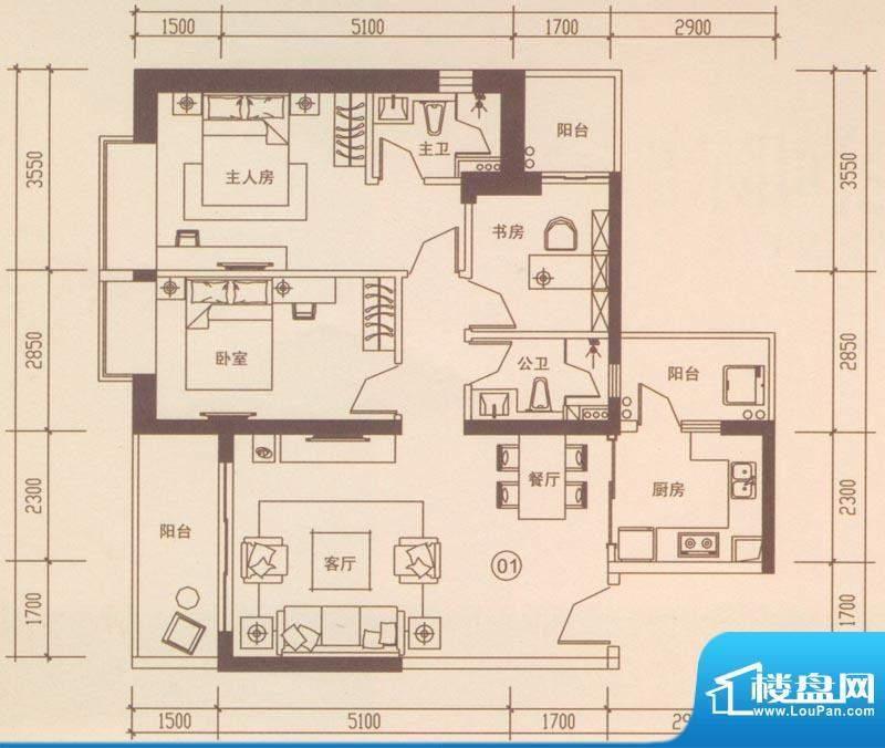 海伦国际户型图A401户型 3室2厅面积:110.27平米