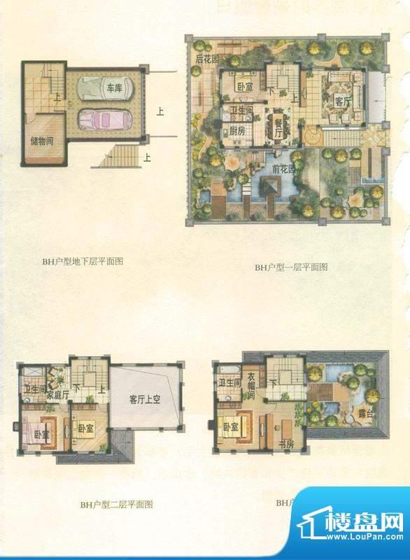 温泉山谷户型图BH 5室3厅3卫1厨面积:219.00平米