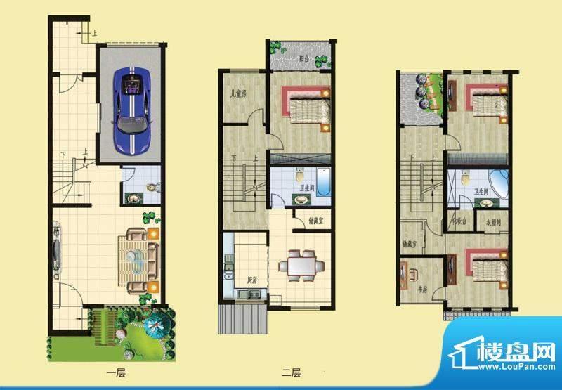 石锦邑城户型图B户型 3室2厅3卫面积:211.00平米