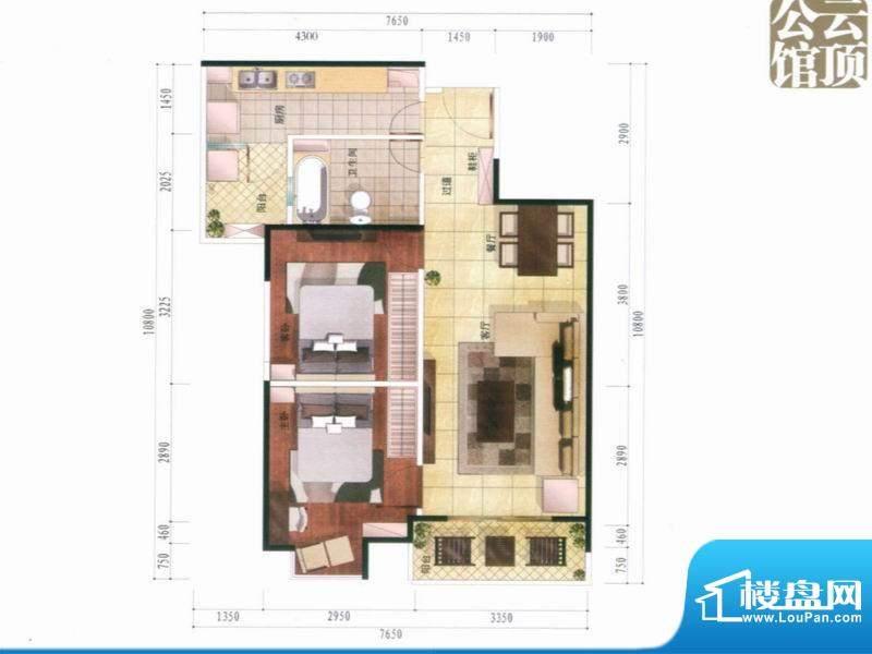 南亚风情第壹城户型图A4户型 2面积:74.00平米