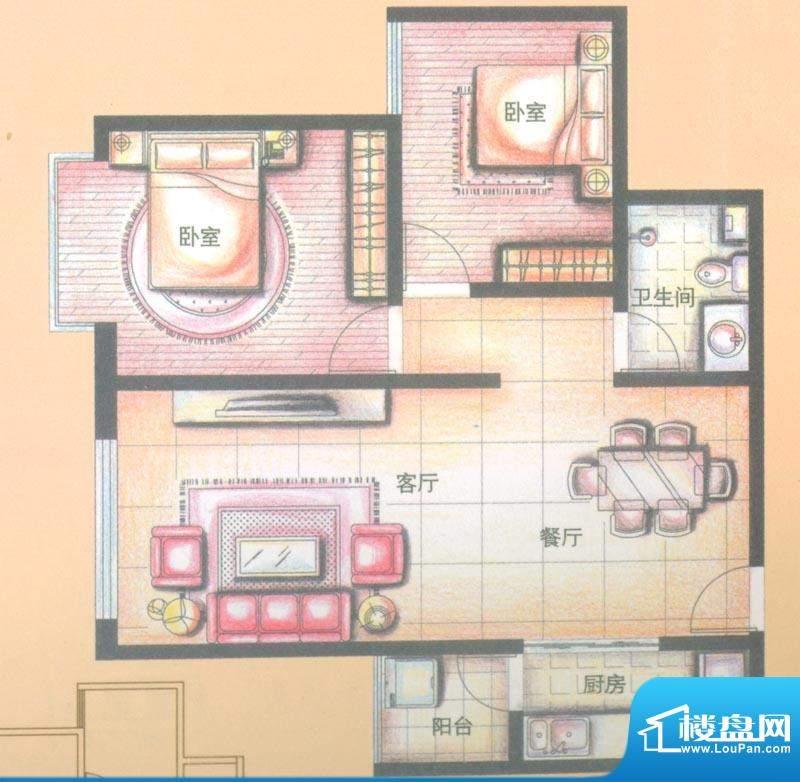 金领时代户型图A2-3户型 2室2厅面积:79.25平米
