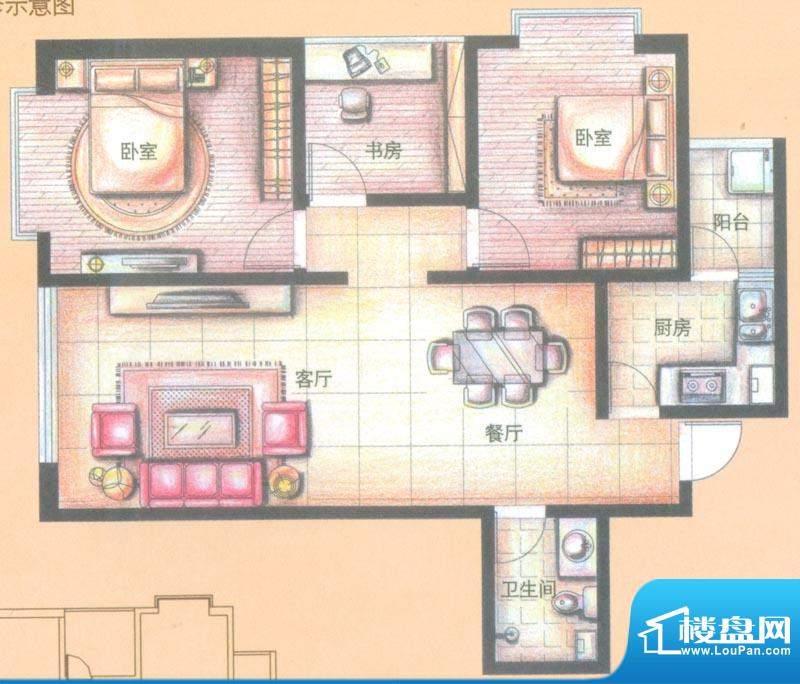 金领时代户型图A2-4户型 3室2厅面积:87.56平米