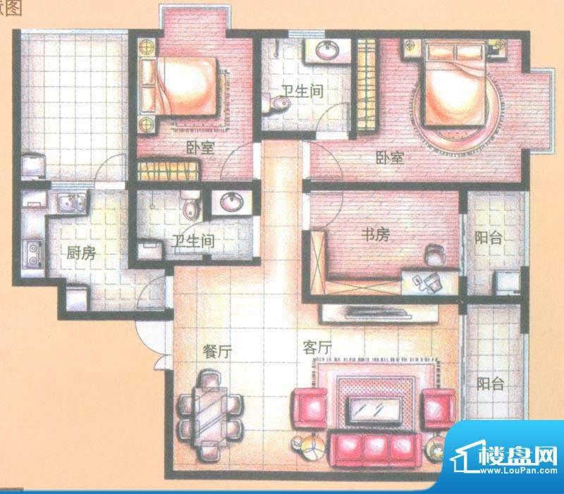 金领时代户型图B2-4户型 3室2厅面积:120.57平米