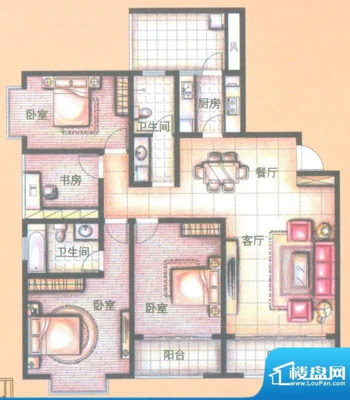 金领时代户型图B3-2户型 4室2厅面积:146.67平米