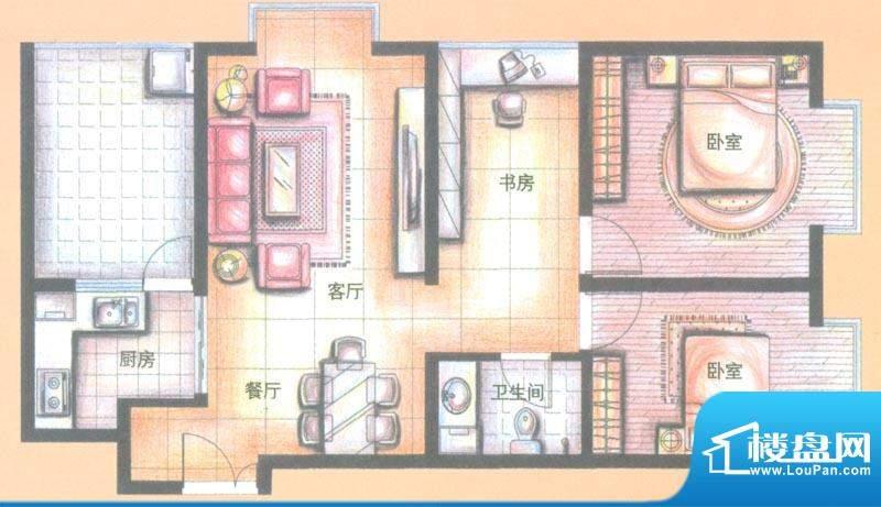 金领时代户型图B3-4户型 3室2厅面积:82.94平米