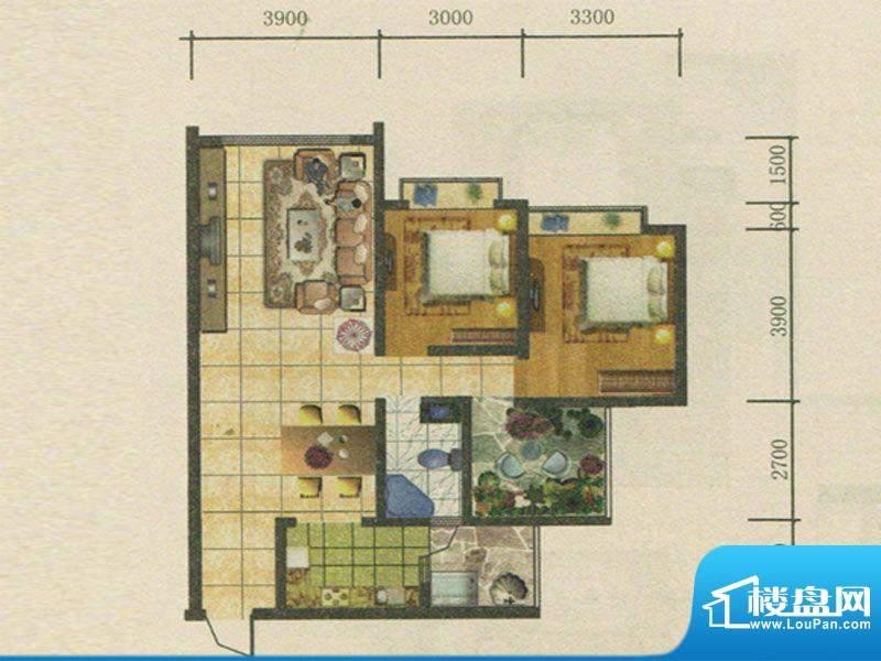 春城慧谷户型图A2户型 2室2厅1面积:96.63平米