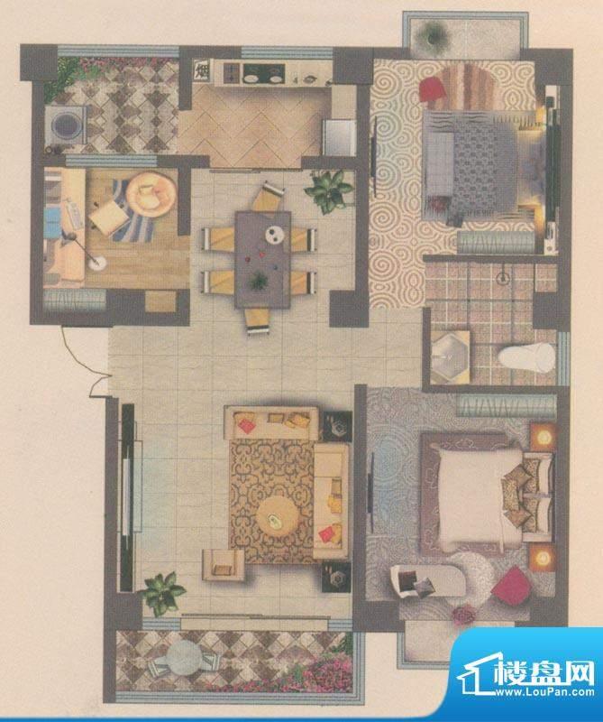 海宇花园户型图D3 3室2厅1卫1厨面积:85.50平米