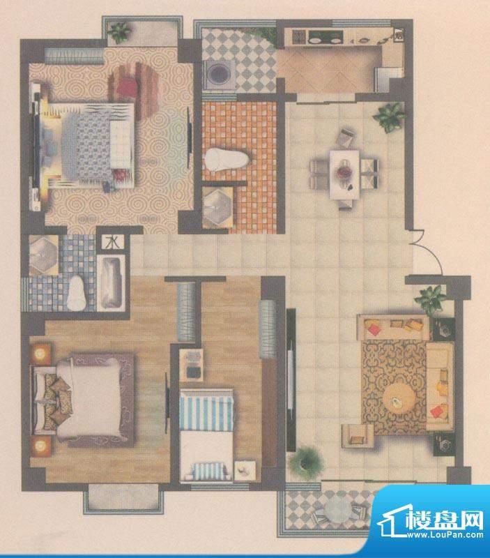 海宇花园户型图D4 3室2厅2卫1厨面积:133.00平米