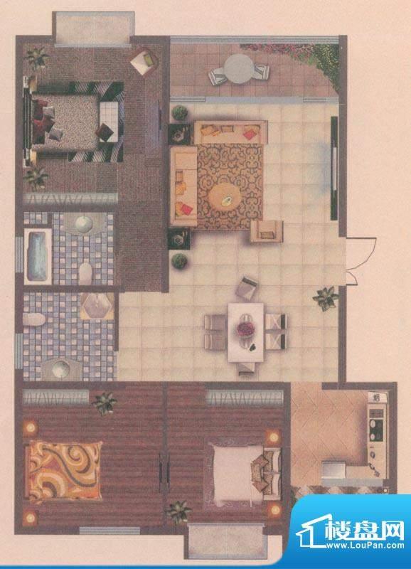 海宇花园户型图G1 3室2厅2卫1厨面积:106.00平米