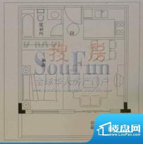 云大知城户型图E8户型 2室2厅1面积:41.54平米