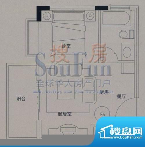 云大知城户型图E5户型 2室2厅1面积:30.49平米