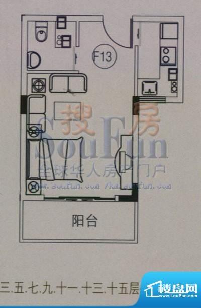 云大知城户型图F13户型 1室1厅面积:29.58平米