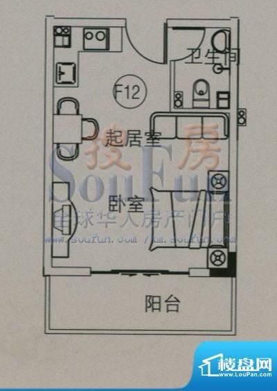 云大知城户型图F12户型 1室1厅面积:30.36平米