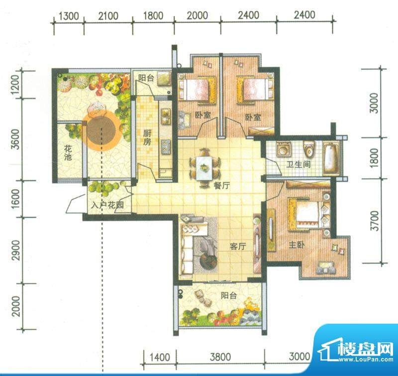 新域盛景户型图H1户型 3室2厅1面积:89.86平米