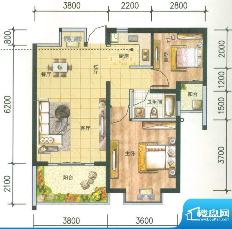 新域盛景户型图H2户型 2室2厅1面积:80.84平米