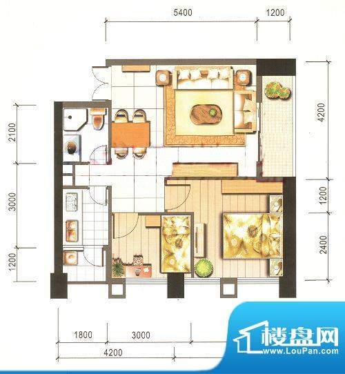 西山新城草海时代公寓户型图t5面积:78.18平米