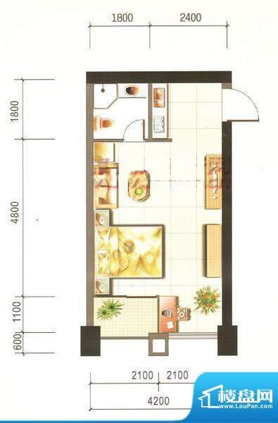 西山新城草海时代公寓户型图t5面积:43.34平米