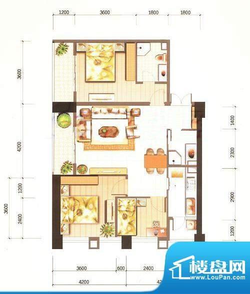 西山新城草海时代公寓户型图t5面积:110.31平米