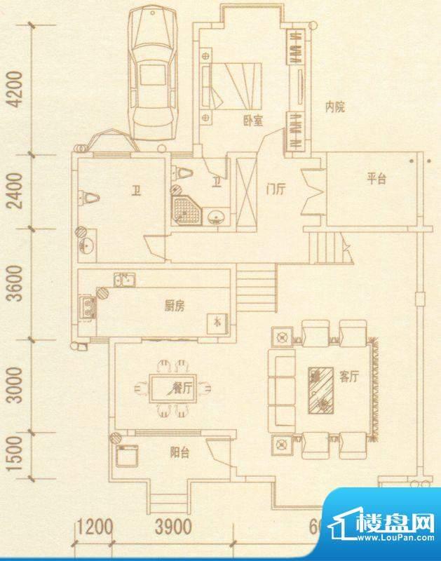 奥林匹克记者村户型图别墅H户型面积:304.93平米