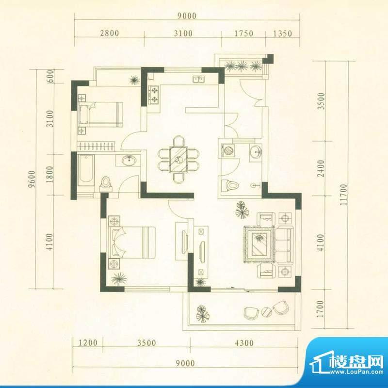 贵研自然界户型图C2户型-景观电面积:84.67平米