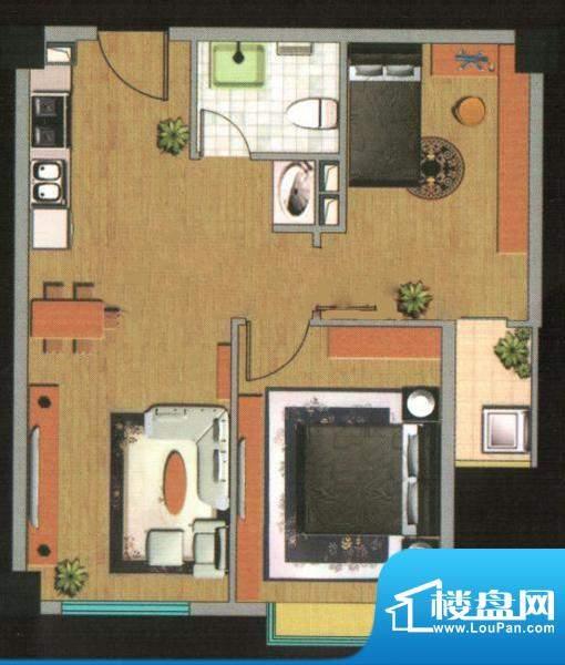 都市高尔夫花园户型图B户型 2室面积:71.31平米