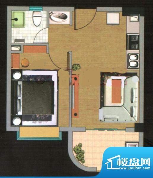 都市高尔夫花园户型图F户型 1室面积:46.95平米