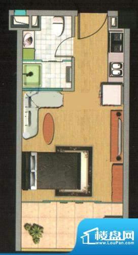 都市高尔夫花园户型图A户型 1室面积:34.26平米