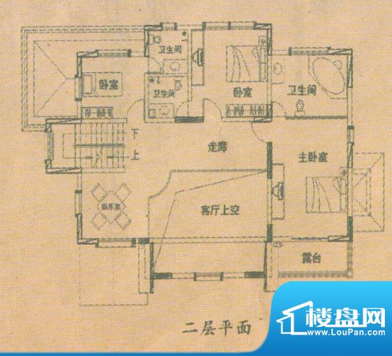 星河温泉小镇G户型二层面积:246.32平米