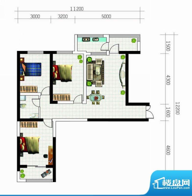 亚太东方星座户型图户型1 3室1面积:123.62平米