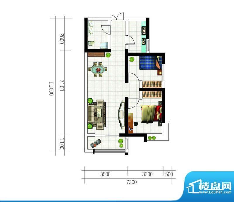 亚太东方星座户型图户型3 2室2面积:89.99平米