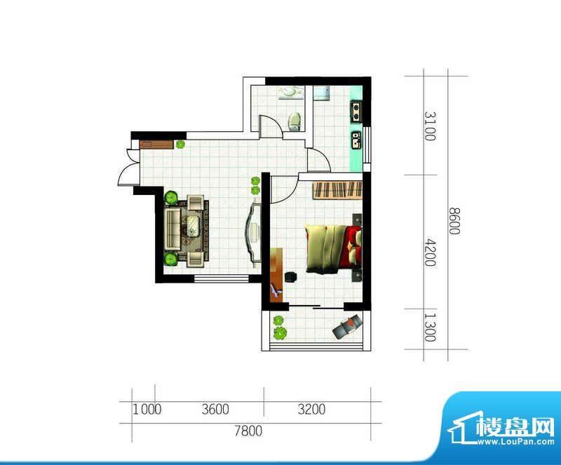 亚太东方星座户型图户型4 1室1面积:65.26平米
